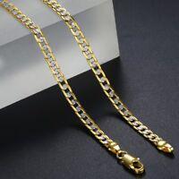 "4mm 22-36"" Hammer Cuban Link Silver Gold Filled Chain Necklace Men Women Unisex"