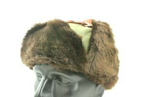Vintage Duxbak Trapper Winter Hat Trooper Green Brown Fur Earflaps Size XL