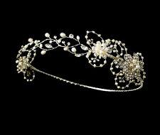 Silver Ivory Freshwater Pearl Bridal Wedding Reniassance Circlet Crown Headpiece