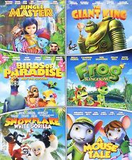 6 animated PG kids movies, new DVD set, Giant King, Birds, Frog, Snowflake mouse