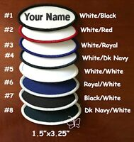 "Iron-On Custom Embroidered Name Patch, Name Tag, Name Badge Oval  1.5""x3.25"