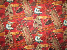Vintage Sled Snow Shoes Ice Skates Skis Red Cotton Fabric BTHY