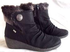 """Rieker """"Mombasa""""  Faux-fur Trim  Ankle Boots - Black- 37- 4"""