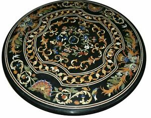 """36"""" Marble Dining Table Top Inlay Rare Stones Round Center Coffee Table AR0949"""