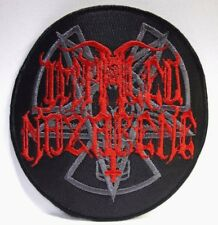 impaled nazarene round gray and red logo EMBROIDERED PATCH