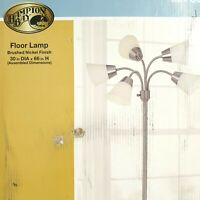 Hampton Bay Floor Lamp Brushed Nickel Finish 30x66 Inch Frosted Shades 524 505