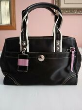 """Coach Purse Black with Purple Accents and Purple Lining NO. F11992 11"""" x 7"""""""