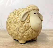 Curly Sheep Ceramic Money Bank Pot Farmhouse Kitchen Gift 7SP960