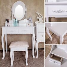 Stunning White Wooden Bedroom Dressing Make Up Table & Vanity Mirror / Stool