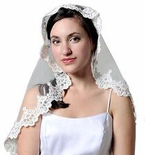 White Lace Mantilla Bridal Communion Wedding Veil Headpiece 35x28