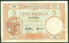 NOUMEA NOUVELLE CALEDONIE 5 FRANCS WALHAIN TYPE DE 1926 ETAT/ TTB  lot 69