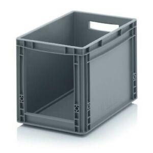 Eurobehälter Stapelkasten Regalbox vorn offen mit Eingriff 400 x 300x 320mm Grau