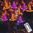 Twinkle Star Halloween Decorations 8 Pcs Lighted Hanging Witch Hats, 14ft 56 LED