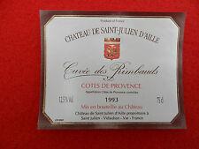 étiquette de vin neuve Château de Saint Julien D'Aille Cuvée des Rimbauds 1993