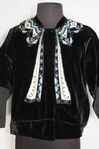RARE FRENCH ANTIQUE VICTORIAN BLACK SILK VELVET DECORATED BLOUSE  SIZE LARGE