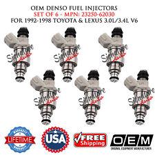 6X OEM DENSO FUEL INJECTORS for 1992-98 TOYOTA & LEXUS 3.0L/3.4L V6 #23250-62030