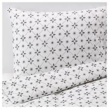 IKEA Vinter 2015 Full/Queen Duvet Cover Set Pillowcase Gray Floral Dot Snowflake