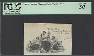 Portugal Vignette Proof Justicia Allegorical Scene About Uncirculated