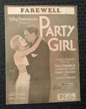 1930 PARTY GIRL Sheet Music VG/FN 5.0 Douglas Fairbanks Jr 6pgs
