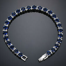 Handmade Jewelry Round Swiss Blue Topaz Gems Silver Women Charming Bracelets New