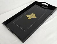 Vintage Couroc TEXAS Serving TV Tray Foley's Black & Brass Inlay