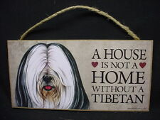 Tibetan Terrier A House Is Not A Home Black White Dog wood Sign Plaque puppy B&W