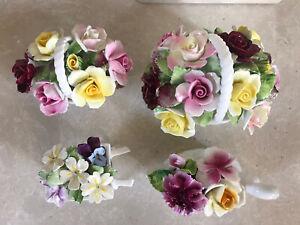 Royal Doulton flower baskets, Wheelbarrow Flower, Staffordshire Swan Flower