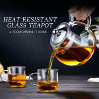 600/950/1300ml Clear Stainless Steel Heat Resistant Glass Teapot Infuser