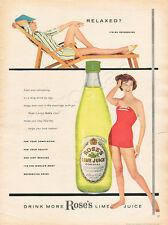 1959 ROSE'S LIME JUICE Authentic Retro VINTAGE MAGAZINE AD