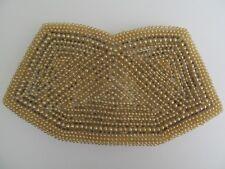 Clutch Evening Bag Faux Pearl Grey Bead Champagne Colour Zipper Japan 1950s Vtg