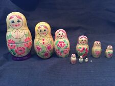 Vintage USSR Nesting Dolls-10 Pieces- Hand Painted Wood