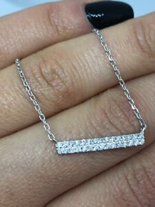 18CT WHITE GOLD 0.36CT BAR DIAMOND NECKLACE BAR NECKLACE GOY892