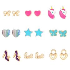 9 Pairs Cute Small Unicorn Butterfly Bowtie Stud Earrings Set For Kids Girls