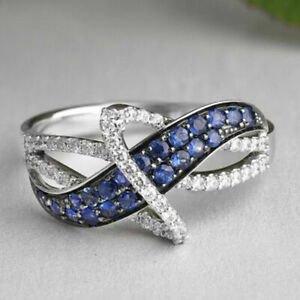 ZIG ZAG ENGAGEMENT & WEDDING FANCY RING 1.35 CT SAPPHIRE 14K WHITE GOLD PLATED