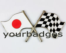 Enamel Chrome Japanese FLAG & chequered flag crossing Car Badge Japan Mazda