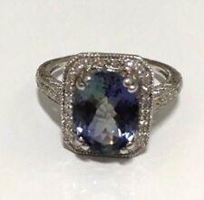Tanzanite and Diamond Ring 18K WG 3.19 Carats Size 6.5