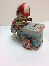 Vintage Tin Toy Wind Up Ice Cream Cart Works