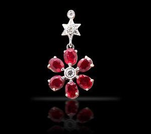 Ruby Pendant & Diamond Pendant White Gold Pendant 7 Inches Long Chain Pendant