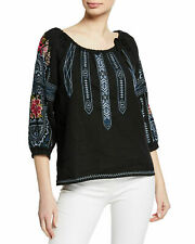 $248 JOHNNY WAS DAVIS EMBROIDERED PEASANT BLOUSE PLUS SIZE 3X BLACK LINEN