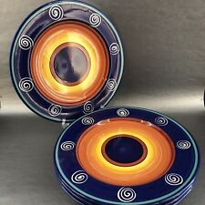 Living Art Morocco Handpainted Pottery Dinner Plate Multi-color Swirls Set Of 4