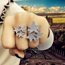 Women Star Cluster Two Finger Rings Bridal Engagement Cubic Zirconia CZ Jewelry