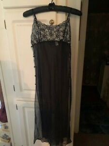 Fredericks of Hollywood Long Black Sheer Gown / Size Med / NWT