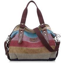 Vintage Retro Women Color Stitching canvas weekend bag lightweight Tote handbag