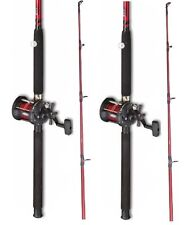 2 x Fladen 6 ft Red Boat Fishing Rods + Multiplier Reels with Red Line