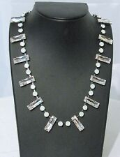 KRIKOR NECKLACE WITH SWAROVSKI CRYSTALS IN SILVER & WHITE -MADE IN GERMANY