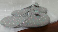 Colorful & Comfortable Women household Slippers Grey Polka Dot  Size 7/8.5  V18