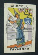 CHROMO 1935-1940 CHOCOLAT FAVARGER #198 COSTUMES CAMBODGE CAMBODGIENNE CAMBODIA