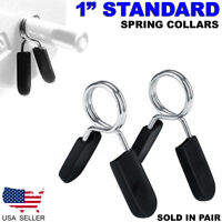 "Standard 1"" Weight Bars Spring Collar Clips Dumbbell Barbell Clamp Bar Gym"