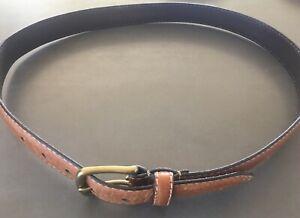 Men's Tan Leather FOSSIL Belt Size 36 Brass Buckle