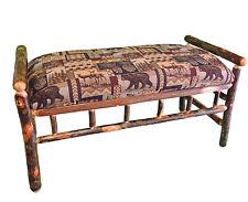 "40"" Rustic Hickory Upholstered Bench Elk moose bear deer wildlife (Sale)"